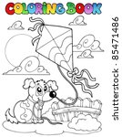 coloring book with dog and kite ... | Shutterstock .eps vector #85471486