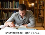 male student researching with a ...   Shutterstock . vector #85474711