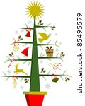 Fully decorated Christmas tree with a shiny golden star on top over white background. - stock photo