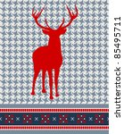 Christmas reindeer silhouette on vintage seamless pattern background. - stock photo