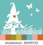 White elf silhouette on a mushroom, leaves and butterflies. - stock photo