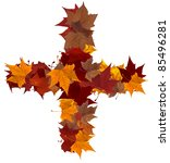 Plus symbol made with autumn leaves isolated on white background. - stock photo