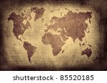 grunge world map with latitude... | Shutterstock . vector #85520185