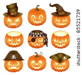 set of halloween pumpkins jack... | Shutterstock .eps vector #85521739