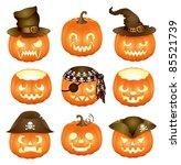 set of halloween pumpkins jack... | Shutterstock .eps vector #85521739