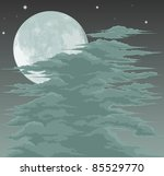 A spooky moon lit sky background with fog clouds - stock photo