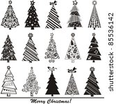 set of christmas trees isolated ... | Shutterstock .eps vector #85536142