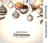 christmas hand drawn fur tree... | Shutterstock .eps vector #85549246