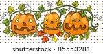 three cute halloween pumpkins....   Shutterstock .eps vector #85553281