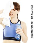 tired workout girl. isolated on ... | Shutterstock . vector #85562803