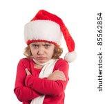 Little christmas girl wearing Santa hat. Isolated on white background. - stock photo