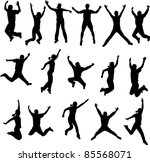 silhouettes of people jumping | Shutterstock .eps vector #85568071