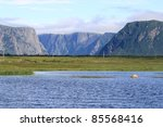 Escarpment and fjords and Western Brook Pond in Gros Morne National Park, Newfoundland, Canada.