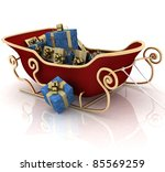 christmas santa sledge with... | Shutterstock . vector #85569259