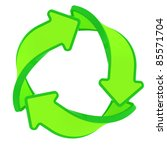 Circle of three green arrows, recycling symbol - stock photo