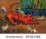 scenic image, executed in gouache - a cheerful tiger - stock photo