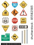 Set Of 14 Highway Sign Vectors...