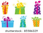 six cute colorful gift boxes | Shutterstock .eps vector #85586329