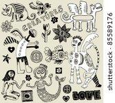crazy childlike doodles  hand...   Shutterstock .eps vector #85589176