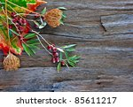 colorful autumn leaves and pods ... | Shutterstock . vector #85611217