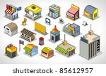 pixels art isometric buildings | Shutterstock .eps vector #85612957