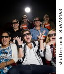 scared movie spectators with 3d ... | Shutterstock . vector #85623463