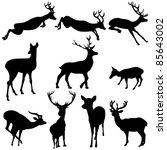 deer silhouettes | Shutterstock .eps vector #85643002