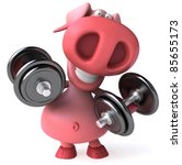 pig and weights   Shutterstock . vector #85655173