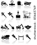 Set of black building icons, illustration - stock vector