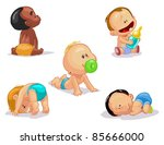 set of funny babies on a white... | Shutterstock .eps vector #85666000