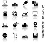 Set of black computer icons, illustration - stock vector