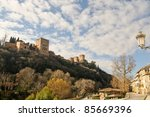 The Alhambra of Granada from the Albaicín - stock photo