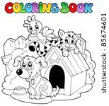 coloring book with domestic... | Shutterstock .eps vector #85674601