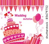 Celebration Card. Wedding Cake...