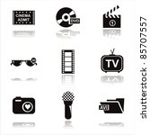 set of 9 black cinema icons | Shutterstock .eps vector #85707557