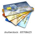 set of color credit cards...   Shutterstock . vector #85708625
