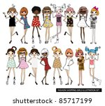 fashion girls illustration set | Shutterstock .eps vector #85717199