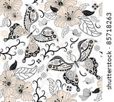 Gentle  white seamless floral pattern with pastel flowers and butterflies (vector) - stock vector