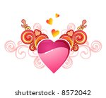 valentine's heart with love / vector layers are separated - stock vector