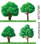 green trees and grass set | Shutterstock .eps vector #85720789