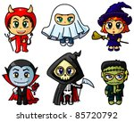 cute chibi halloween characters ... | Shutterstock .eps vector #85720792