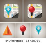 Vector map icon set - stock vector