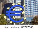 the euro sign on a sunny day ... | Shutterstock . vector #85727545