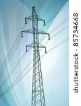 High voltage tower and line background vector - stock vector
