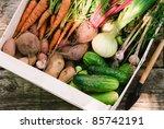 Harvest Of Fresh Vegetables In...