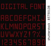 vector red digital font | Shutterstock .eps vector #85750138