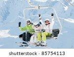 Ski Lift   Happy Skiers In Ski...