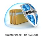 File and shield on white background (done in 3d) - stock photo