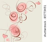 pink flowers and hearts vector... | Shutterstock .eps vector #85773451