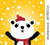 panda and snow background | Shutterstock .eps vector #85783114